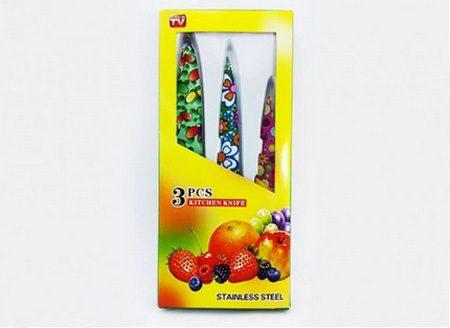 چاقو/کارد رنگی آشپزخانه سه تکه طرحدار گل